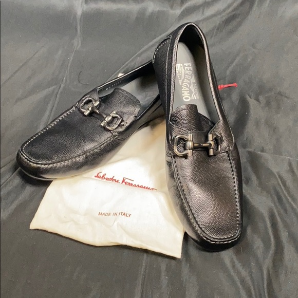FERRAGAMO LOAFERS - caviar with pewter hardware